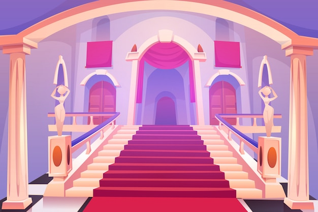 Castle staircase, upward stairs in palace entrance Free Vector