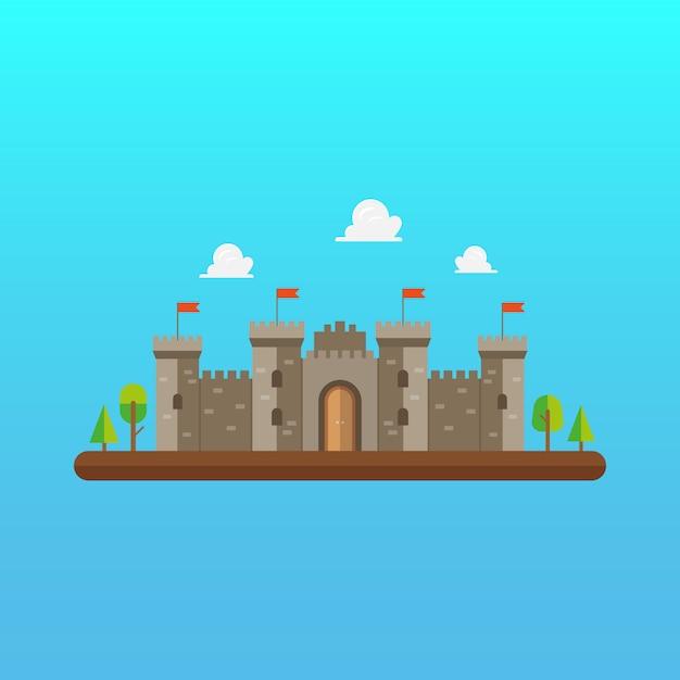 Архитектура замковой башни в плоском дизайне Premium векторы