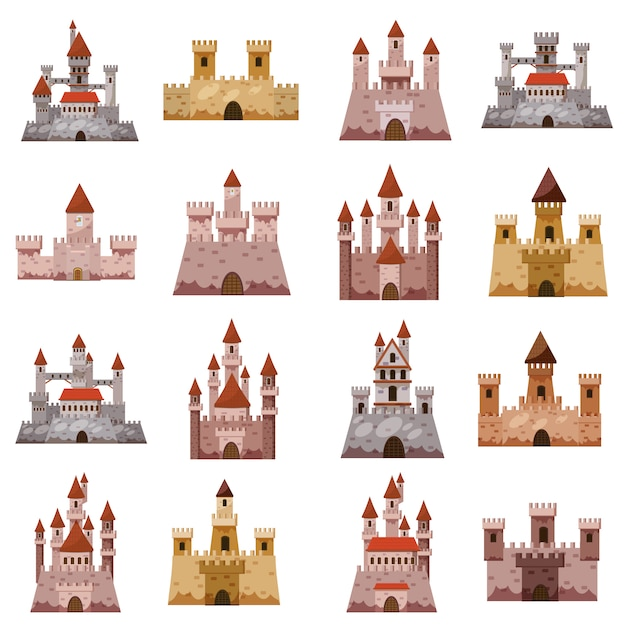 Castle tower icons set, cartoon style Premium Vector