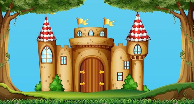 Torri del castello nel campo Vettore gratuito