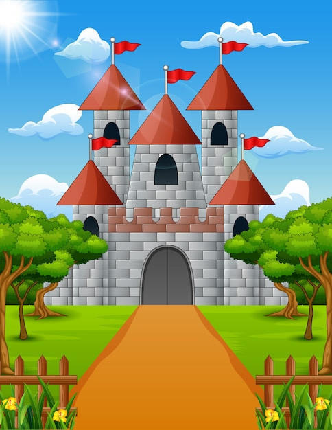 Castle view from the front with green plant Premium Vector