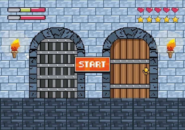 Castles doors with torches and notice message with life bars Free Vector