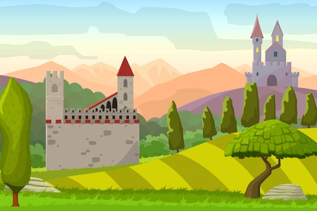 Castles on hills medieval landscapevector cartoon illustration Free Vector