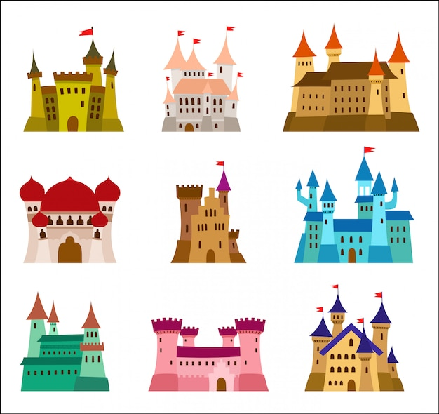 Castles icons set of medieval castles Premium Vector