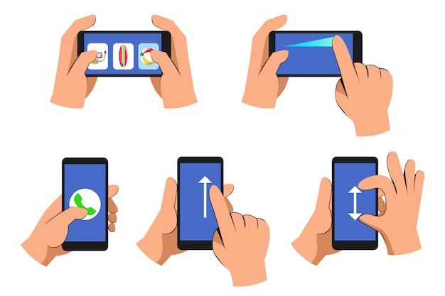 Casual cartoon hand operating smart phone collection set Premium Vector