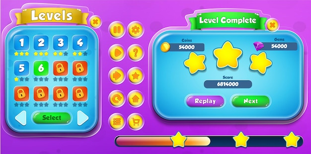 Casual cartoon kids game ui level selection and level complete menu pop up with buttons and loading