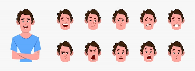 Casual cartoon man character with different facial expression set.  different facial emotions for custom animation Premium Vector
