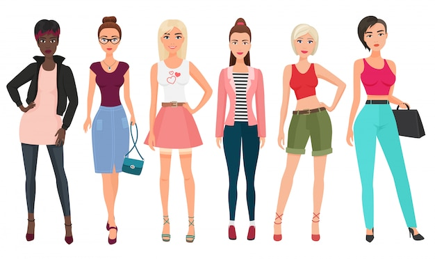 Casual fashion for beautiful female woman on white Premium Vector
