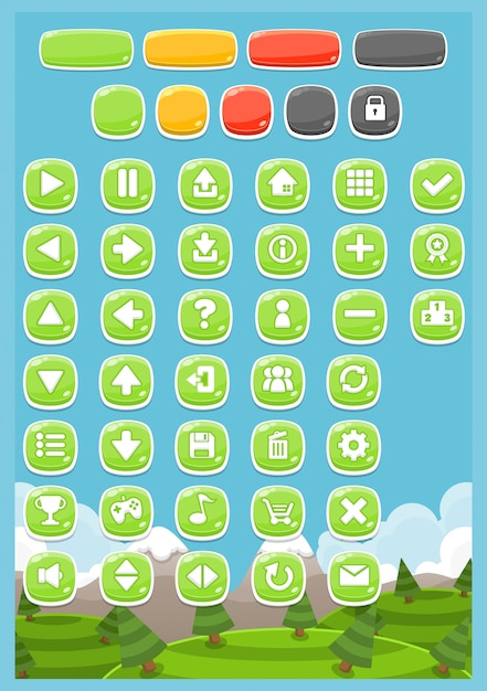 Casual game buttons Premium Vector
