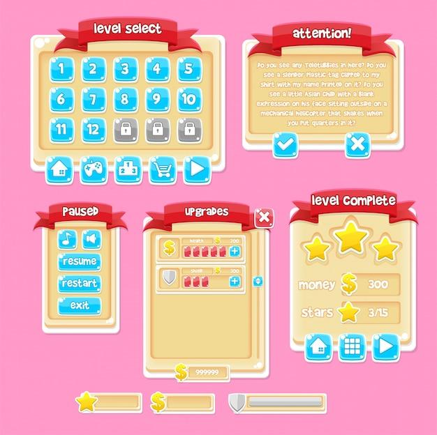 Casual game gui pack Vector | Premium Download