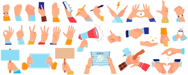 Случайный жест рукой, комплект иллюстрации вектора рукопожатия владением руки. рукопожатие или захват, люди держатся за опорные руки Premium векторы