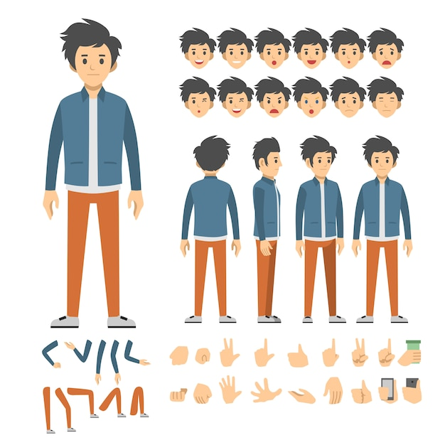 Casual man character set Vector | Premium Download