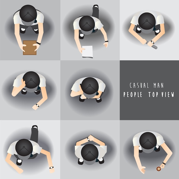Casual man,people standing top view set ,vector illustration Premium Vector