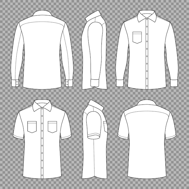 Casual mans blank outline shirts Premium Vector