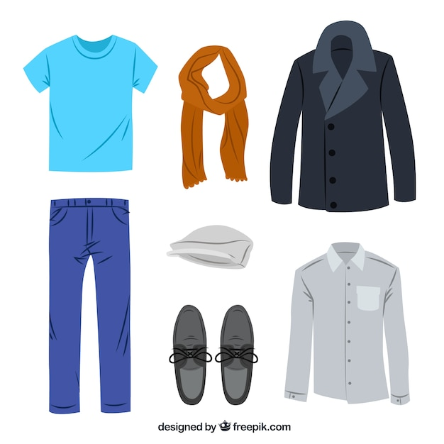 Casual men's clothing Free Vector