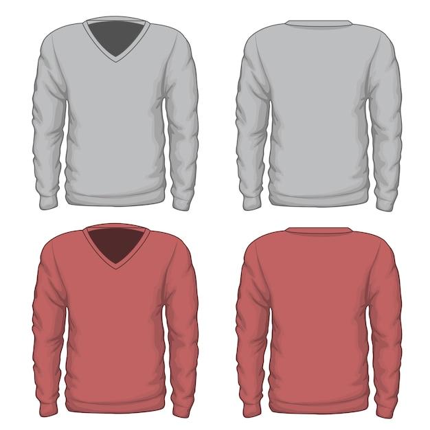 カジュアルなメンズvネックスウェットシャツ。ファッションウェア、衣料品テキスタイル、ベクトルイラスト。 vネックベクタースウェットシャツまたはベクターメンズスウェットシャツ 無料ベクター