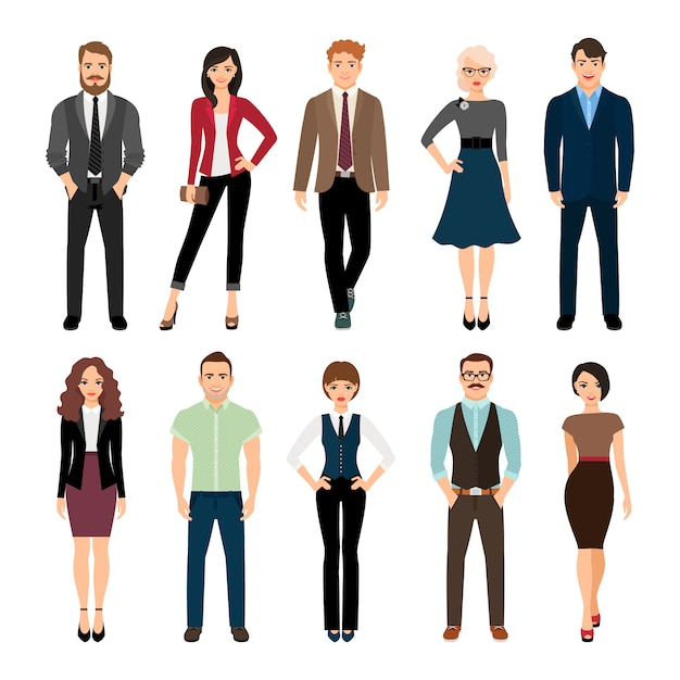 Casual office people vector illustration. fashion business men and business women persons group standing isolated Premium Vector