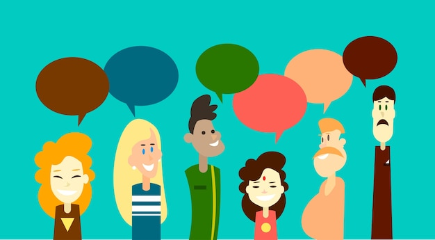 Casual people group chat bubble communication social network Premium Vector