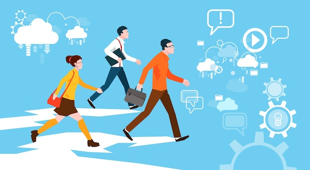 Casual people group walking business abstract background Premium Vector