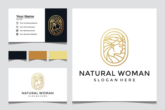 Casual woman's face with art style logo Premium Vector