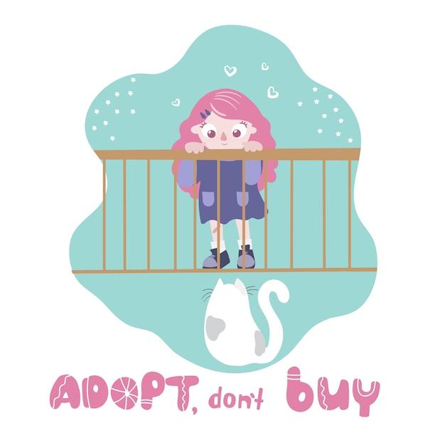 Cat adoption Premium Vector