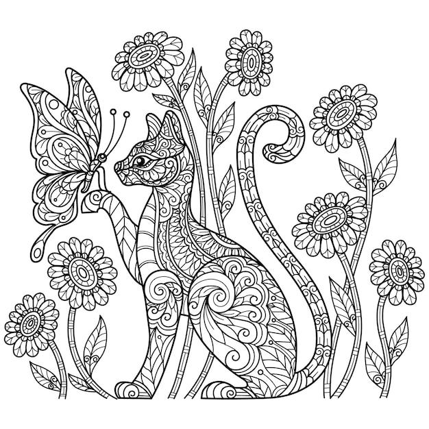 猫と蝶。大人の塗り絵の手描きのスケッチ図。 Premiumベクター