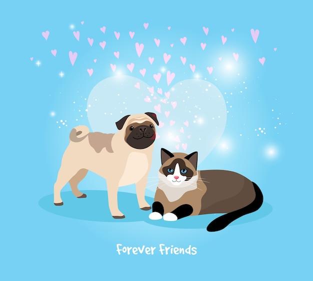 猫と犬の永遠の友達のベクトル図 無料ベクター