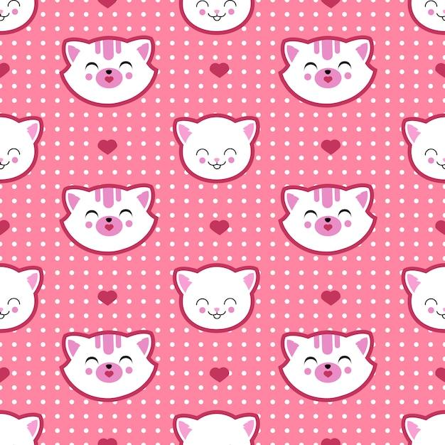 猫と子猫の顔シームレスパターン。子供のtシャツデザイン Premiumベクター