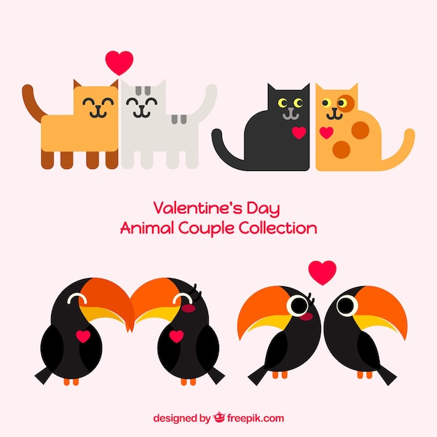 バレンタインデーの猫とツーーカンカップルコレクション 無料ベクター