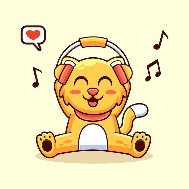 듣는 음악, 재미 있은 귀여운 마스코트 캐릭터 디자인 일러스트와 같은 고양이 동물 프리미엄 벡터
