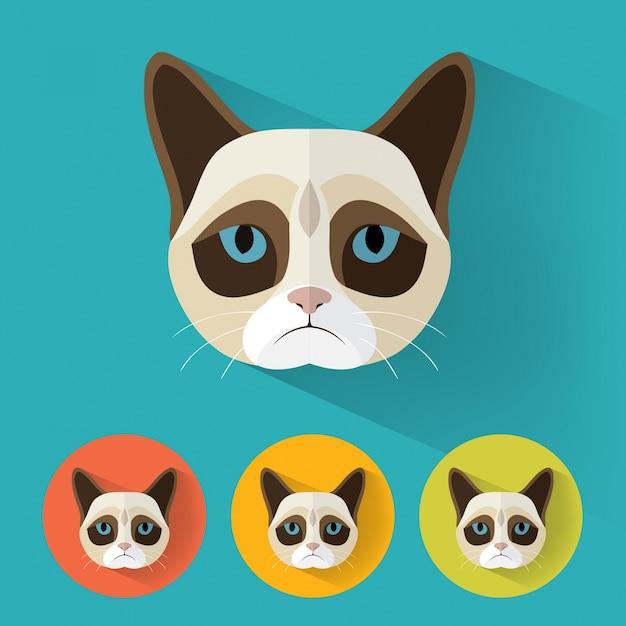 Cat animal portrait in flat design