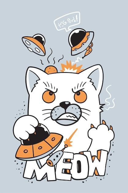 Cat attacked ufo doodle Premium Vector