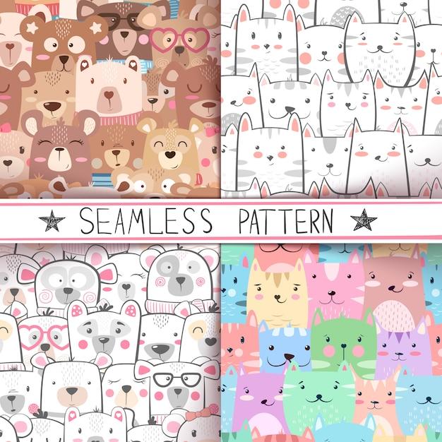 Cat, bear - cute seamless pattern set Premium Vector