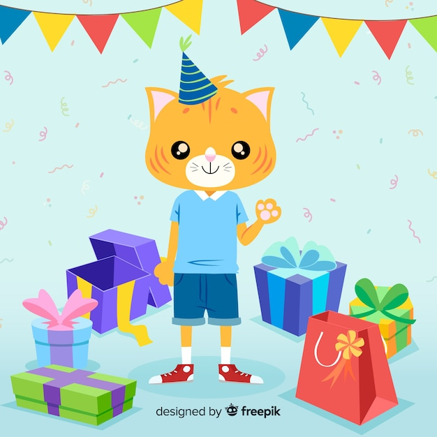 Cat Birthday Vector