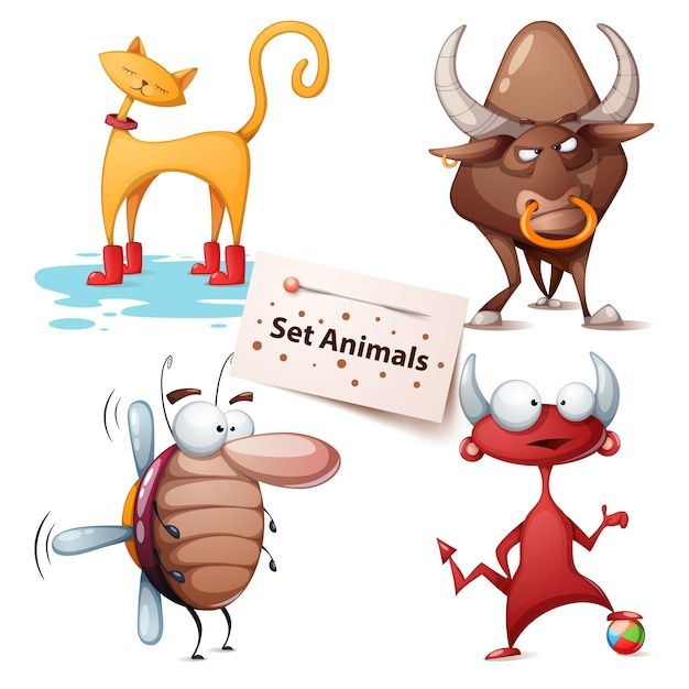 Cat, bull, cockroach, devil - set animals Premium Vector