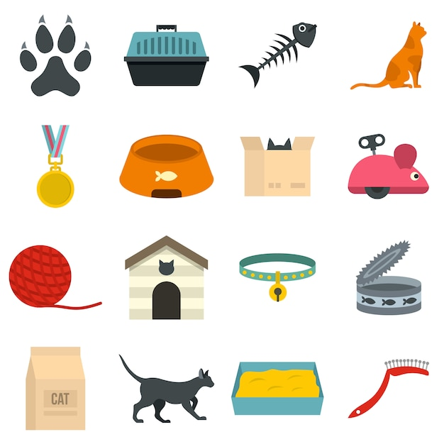 Cat care tools icons set in flat style Premium Vector