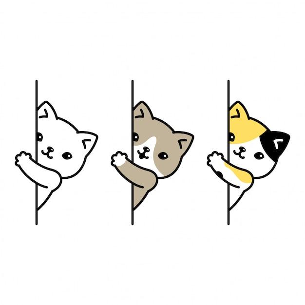 猫の漫画のキャラクターの子猫三毛猫隠れ Premiumベクター