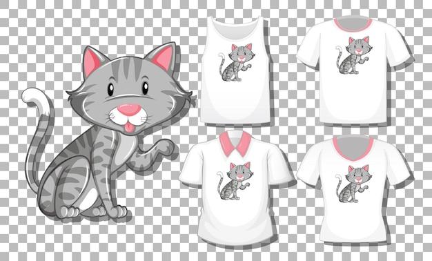 Personaggio dei cartoni animati di gatto con set di camicie diverse isolato su sfondo trasparente Vettore gratuito