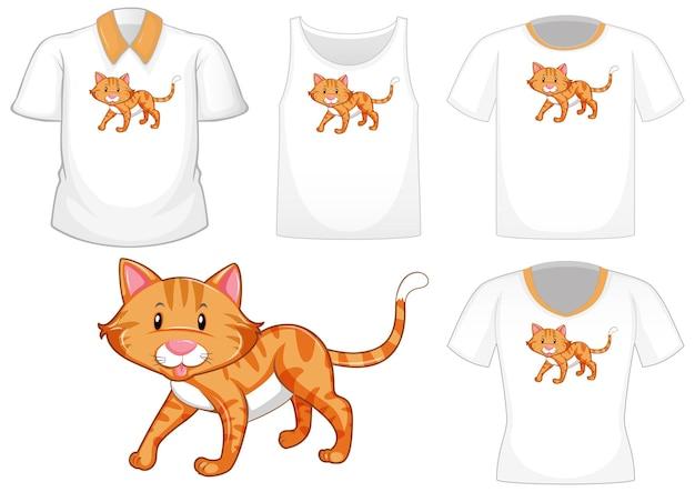 Personaggio dei cartoni animati di gatto con set di camicie differenti isolati su priorità bassa bianca Vettore gratuito