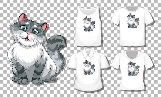 Personaggio dei cartoni animati di gatto con set di camicie diverse isolato Vettore gratuito