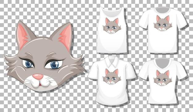 Personaggio dei cartoni animati di gatto con set di camicie diverse isolate Vettore gratuito