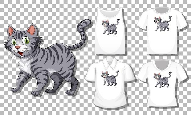透明な背景に分離されたさまざまなシャツのセットを持つ猫の漫画のキャラクター 無料ベクター