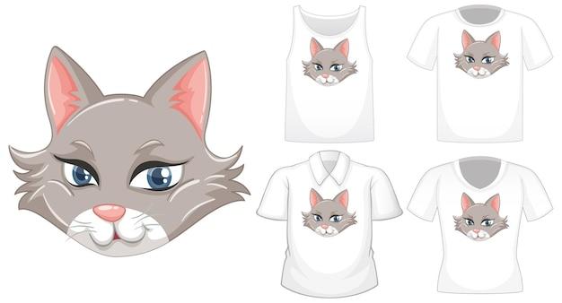 흰색 배경에 고립 된 다른 셔츠 세트와 고양이 만화 캐릭터 무료 벡터