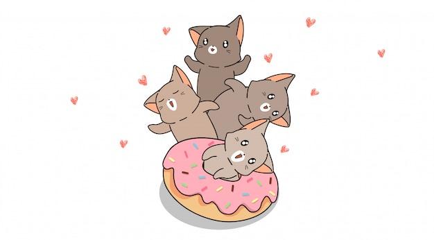 Кошачьи персонажи с розовым пончиком Premium векторы