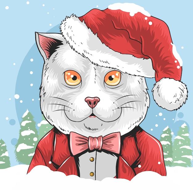 Cat christmas with santa claus hat illustration cute Premium Vector