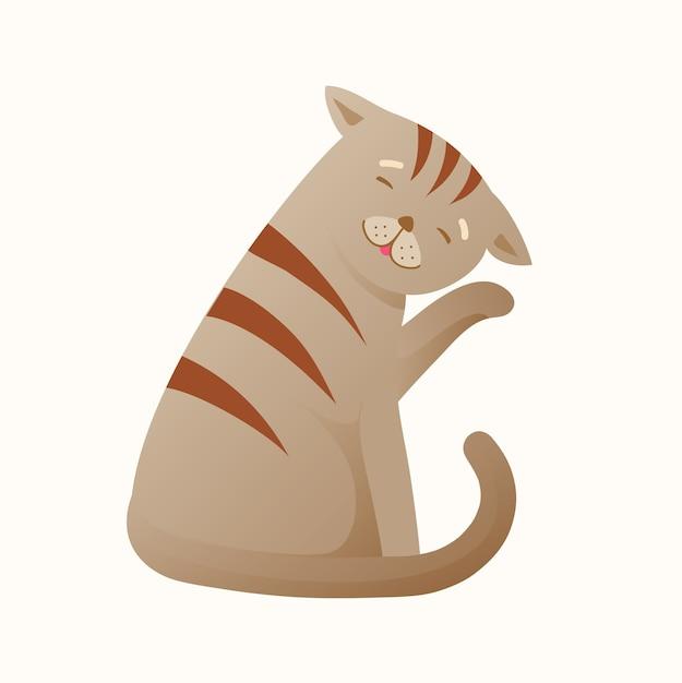 猫の掃除自体はリラックスして平和です。家畜の漫画、清潔でシンプル。毛皮をなめるかわいい子猫、リラックスして幸せなペット。漫画。 Premiumベクター