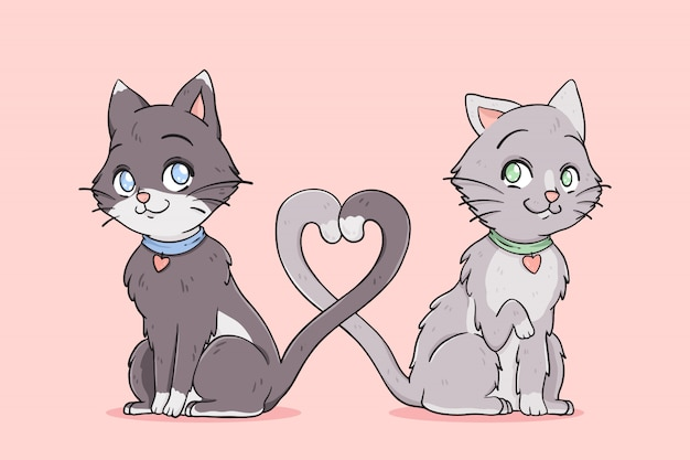 Cat couple in love tangling their tails Free Vector
