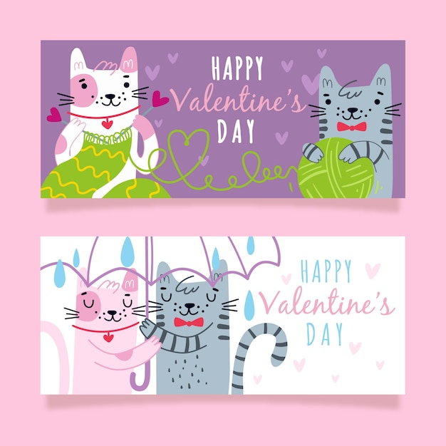 Cat couple valentine's day banners Free Vector