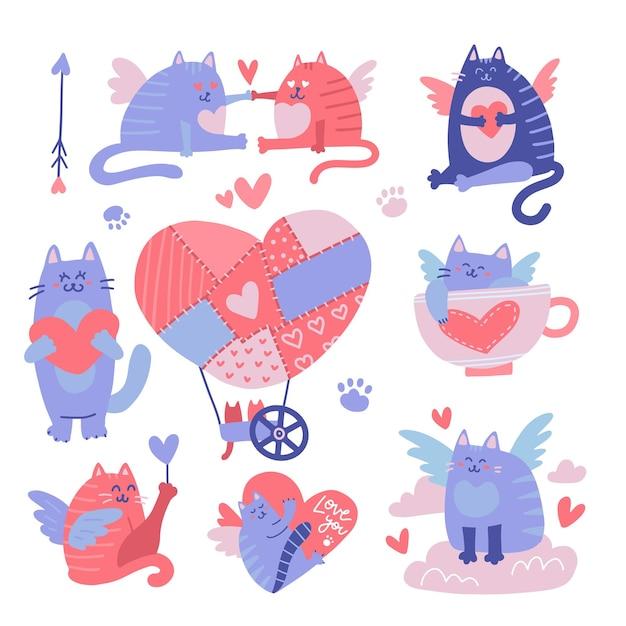 고양이 큐피드 만화 캐릭터 세트. 발렌타인 그림입니다. 프리미엄 벡터