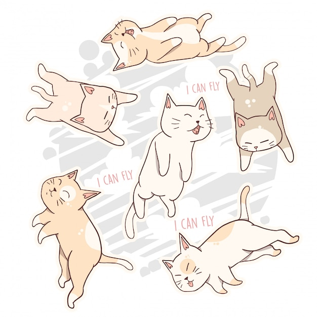 Cat cute animal can fly Premium Vector